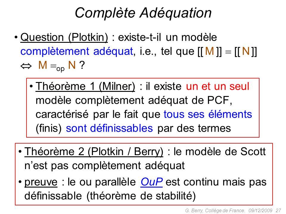 Complète Adéquation Question (Plotkin) : existe-t-il un modèle complètement adéquat, i.e., tel que [[ M ]]  [[ N ]]  M op N